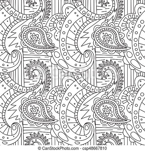 Seamless Pattern Zentangle Ornament Coloring Book Page Design
