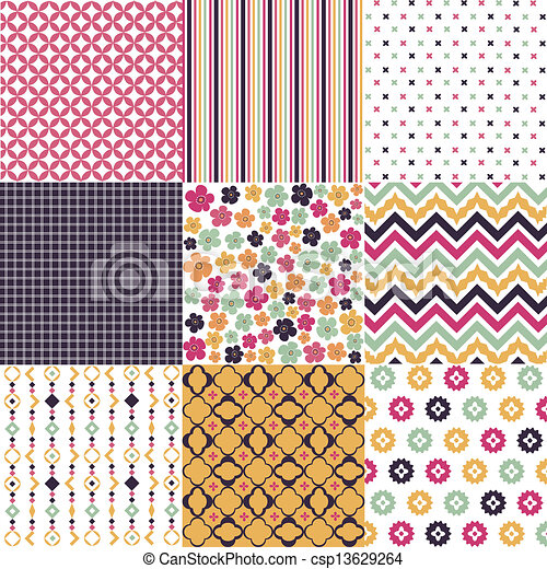 seamless patterns, fabric texture - csp13629264