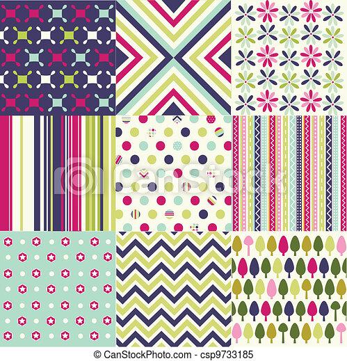 seamless patterns, fabric texture - csp9733185