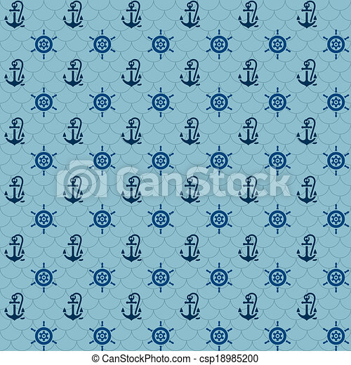 Seamless patterns, navy anchors and steering wheel - csp18985200