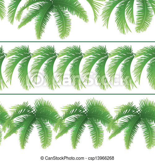 Seamless patterns, palm leaves - csp13966268