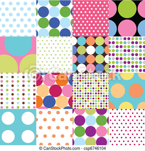 seamless patterns, polka dot set - csp6746104