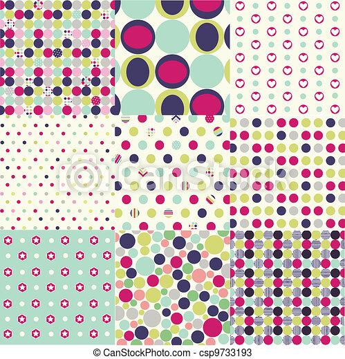 seamless patterns, polka dot set - csp9733193