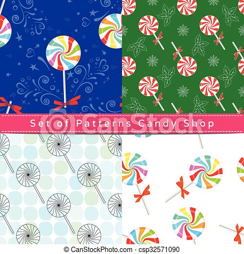 Seamless patterns with peppermint candy - csp32571090
