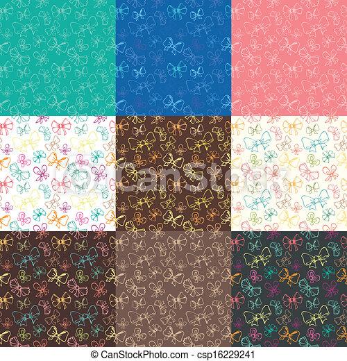 seamless patterns with ribbon - csp16229241