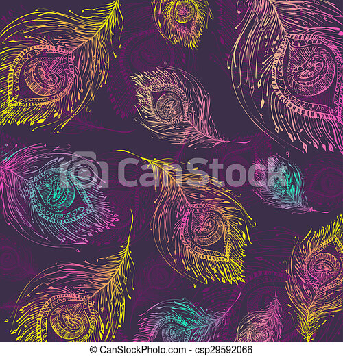 seamless peacock feather pattern background in