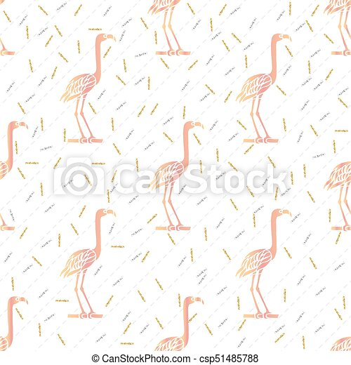 seamless pink bird with silver and gold glitter pattern background - csp51485788