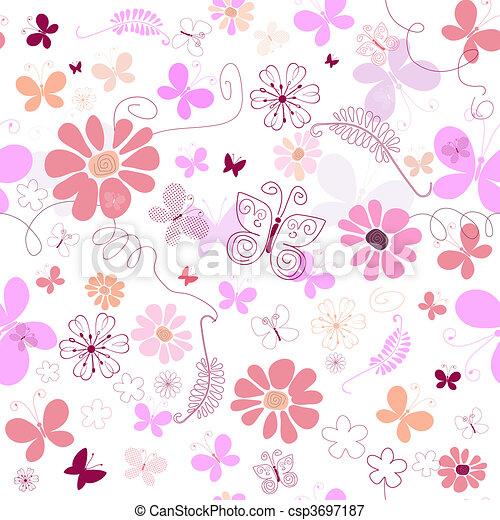 Seamless pink floral pattern - csp3697187