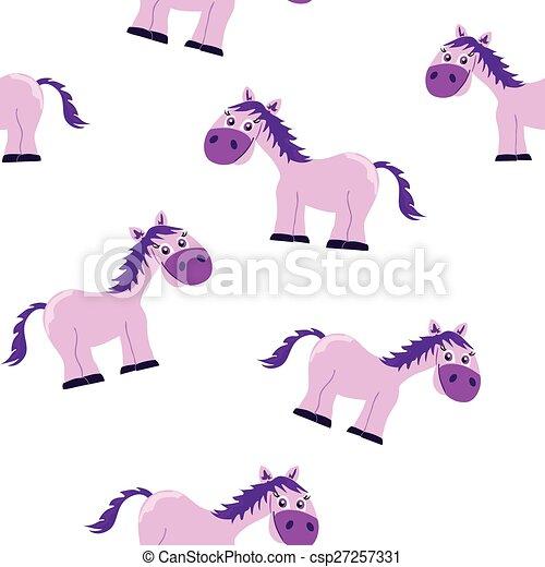 Seamless pink princess horse patter - csp27257331