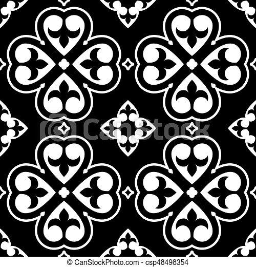 Seamless Polish Folk Art Black Pattern Vector Repetitive Design