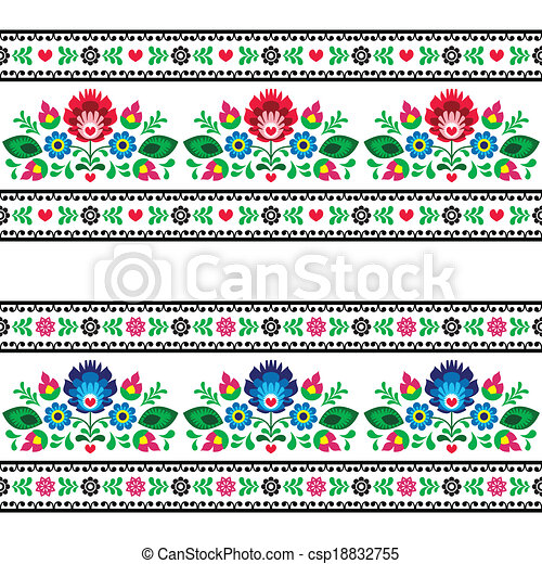 Seamless Polish folk pattern  - csp18832755