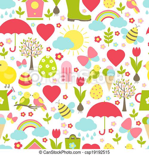 seamless, primavera, delicato, carino, modello - csp19192515