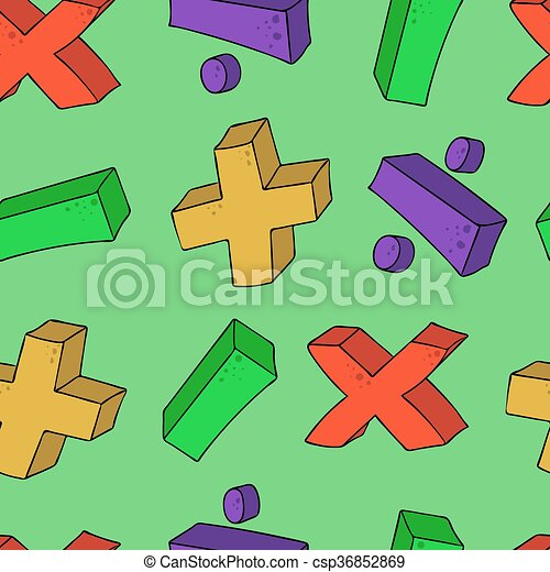 Seamless Psttern Cartoon Math Symbols Freehand Drawn Cartoon Math