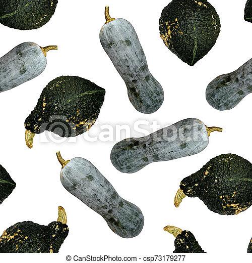 Seamless pumpkins pattern. Grey and dark green pumpkins. - csp73179277