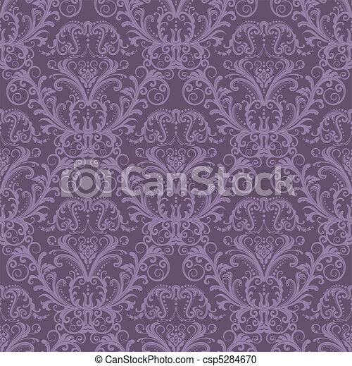 Seamless purple floral wallpaper - csp5284670