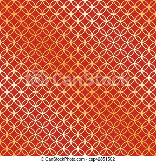 Seamless red and gold circle intersect pattern - csp42851502