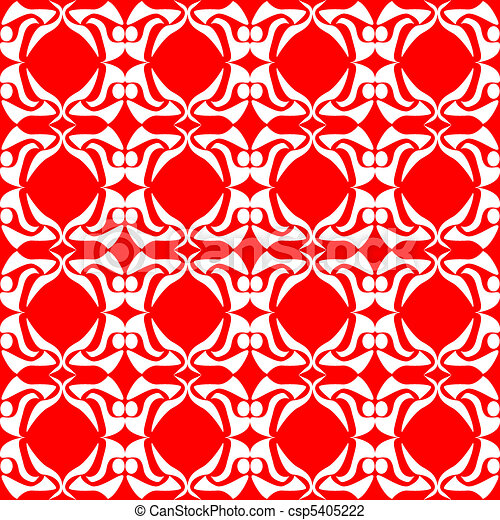 seamless red floral background art - csp5405222
