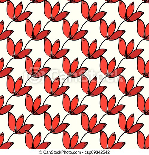 Seamless red floral pattern background. - csp69342542