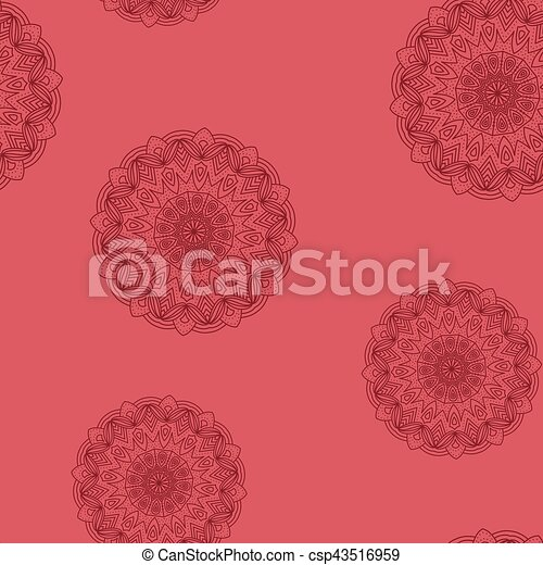 Seamless red floral pattern - csp43516959