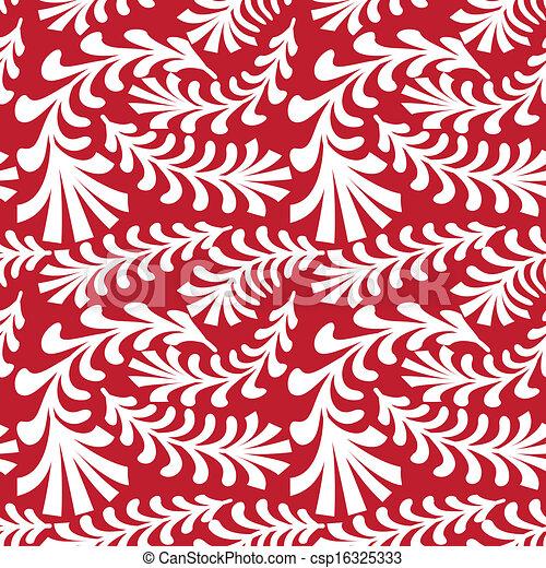 seamless red floral pattern - csp16325333