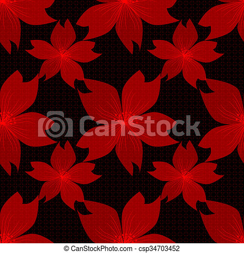 Seamless red floral pattern on black - csp34703452