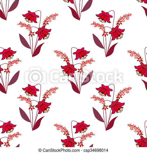 Seamless red floral pattern on white - csp34698014