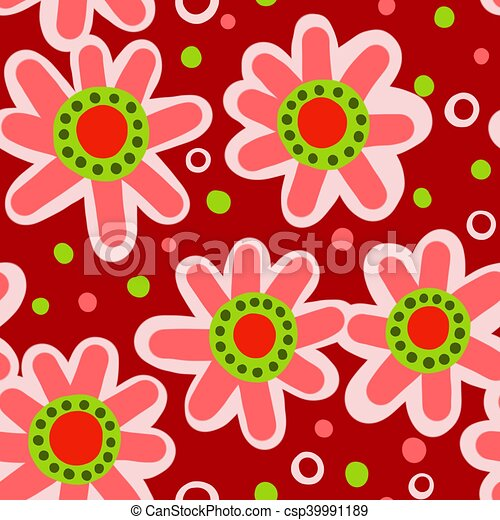 Seamless Red Floral Pattern - csp39991189