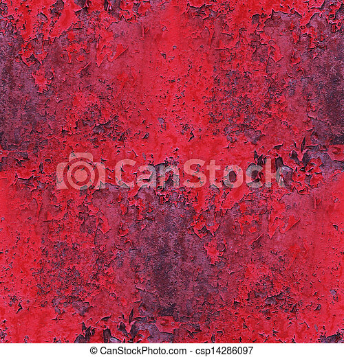 Seamless red paint old rusty iron background wall grunge fabric