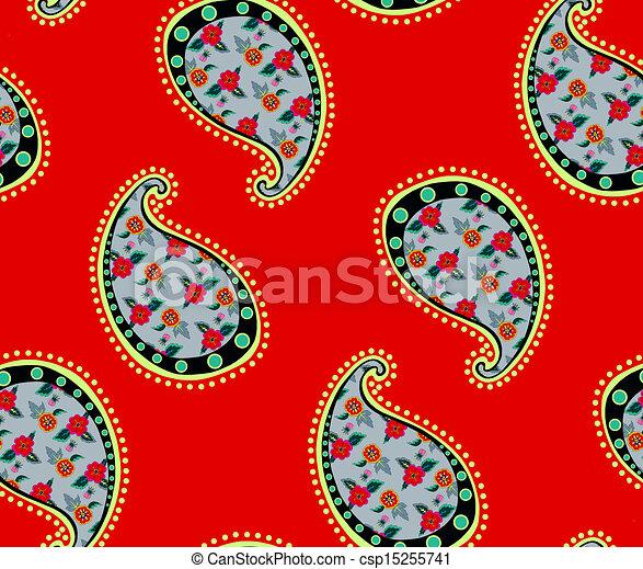 seamless red paisley pattern - csp15255741