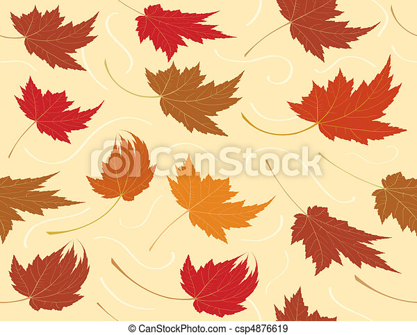 Seamless Repeating Fall Leaf Background - csp4876619