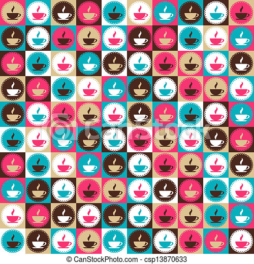 Seamless retro coffee and tea pattern. - csp13870633