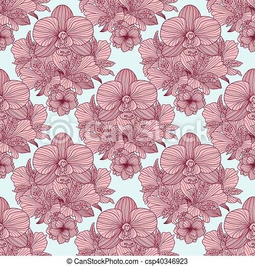 Seamless retro flower pattern - csp40346923