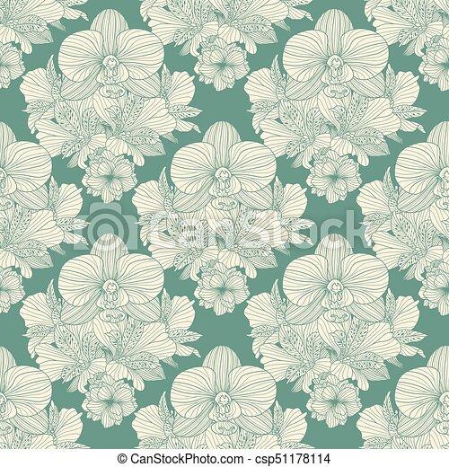 Seamless retro flower pattern - csp51178114
