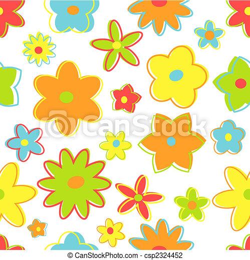 Seamless retro flowers - csp2324452