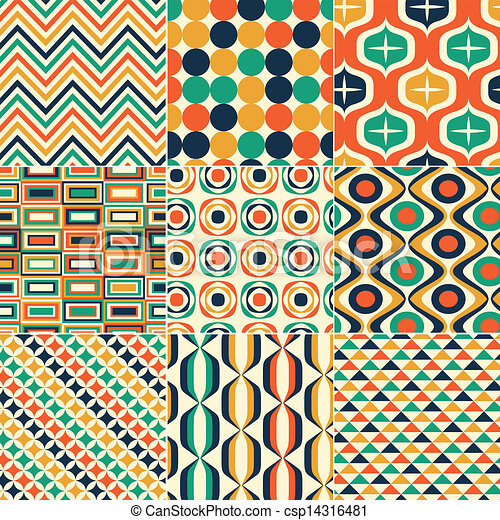 seamless retro pattern print - csp14316481