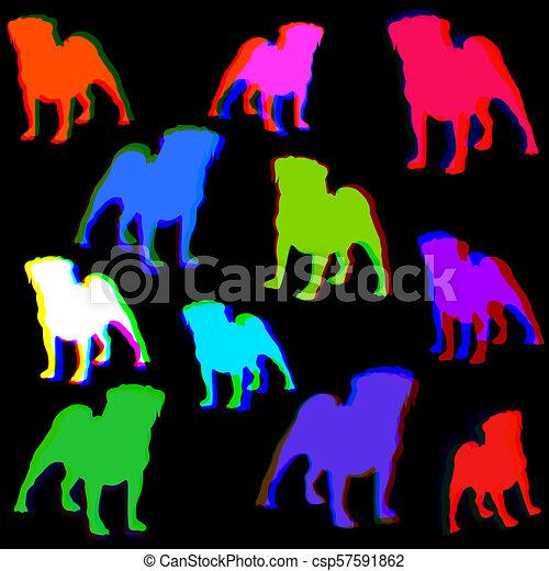 Seamless Retro Pug Dog Pattern Background - csp57591862