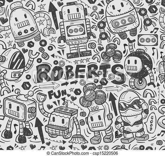 seamless robot pattern, illustrator line tools drawing - csp15220506
