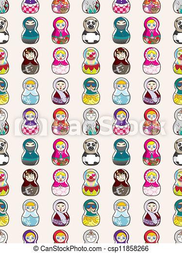 seamless Russian doll pattern - csp11858266