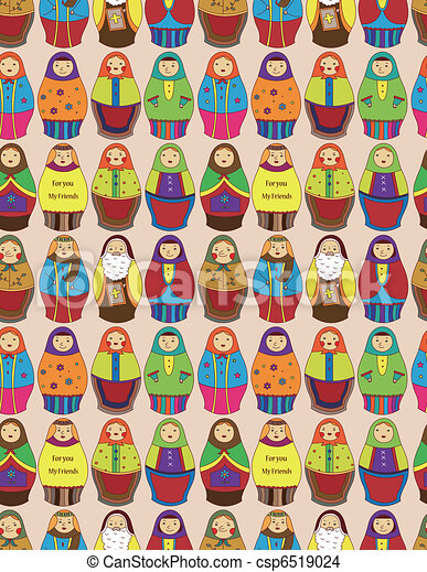 seamless Russian doll pattern  - csp6519024