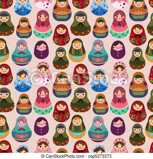 seamless Russian doll pattern  - csp5273373