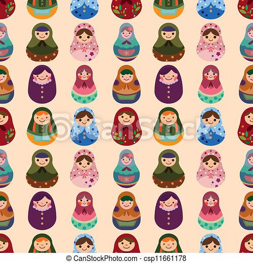 seamless Russian doll pattern - csp11661178