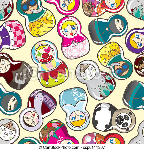 seamless Russian doll pattern  - csp6111307