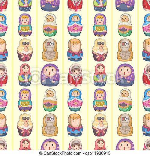 seamless Russian doll pattern - csp11930915
