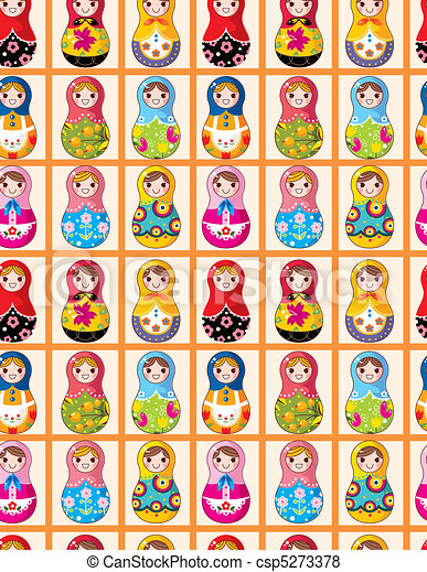 seamless Russian dolls pattern  - csp5273378