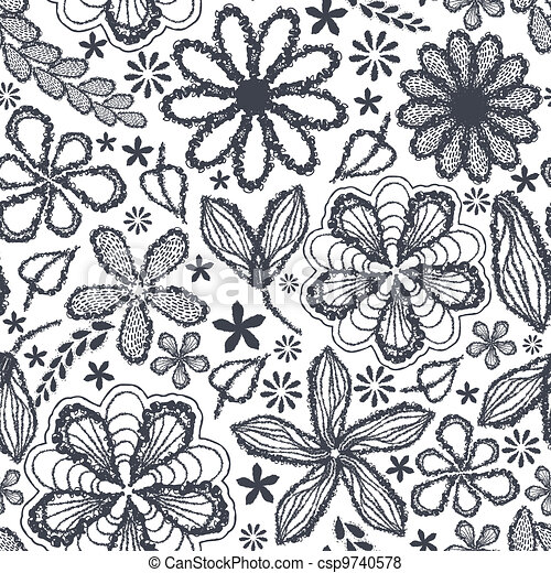 Seamless shabby floral hand-drawn curly pattern  - csp9740578