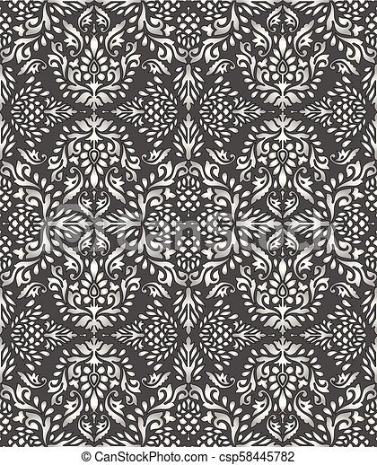 Seamless Silver Damask Wallpaper