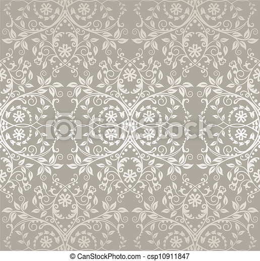 Seamless silver lace floral pattern - csp10911847