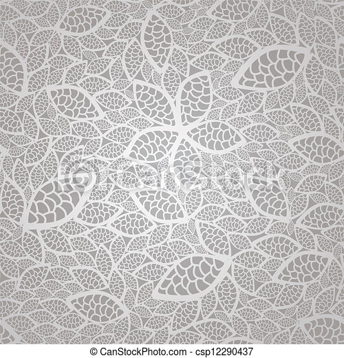 Seamless silver lace leaves pattern - csp12290437