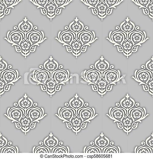 Seamless Silver Rich Damask Wallpaper