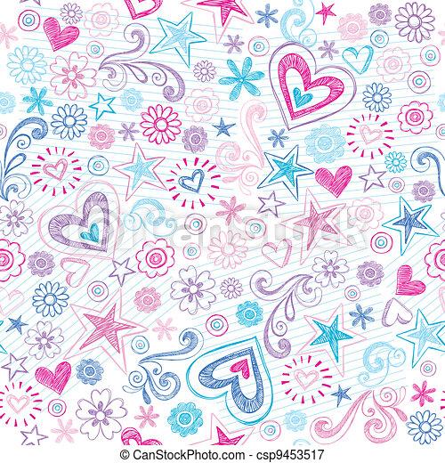 Seamless Sketchy Doodles Pattern - csp9453517
